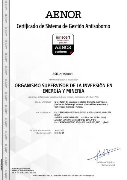 Certificado antisoborno Osinergmin